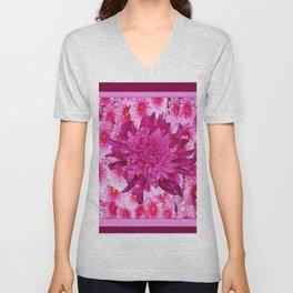 Oriental Style Purple & Pink Chrysanthemums Floral Garden Unisex V-Neck