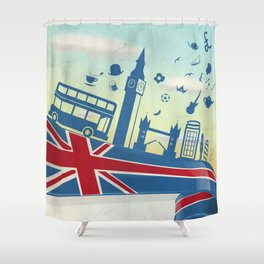 UK LONDON  element on flag with sky background Shower Curtain