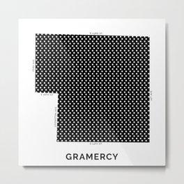 NYC Neighborhood Map in Black & White: Gramercy Metal Print