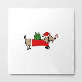 Christmas dachshund Metal Print