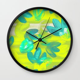 Vibrant Acrylic Painting Layered Tulips Floral Pattern Neon Lime Yellow, Mint Green, Summer Party Vibe Wall Clock