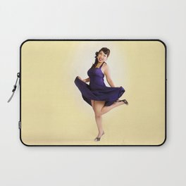 """""""Flirt Skirt"""" - The Playful Pinup - Cheesecake Pinup Smile in Purple Dress by Maxwell H. Johnson Laptop Sleeve"""