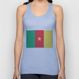 Flag of Cameroon.  The slit in the paper with shadows.  Unisex Tank Top