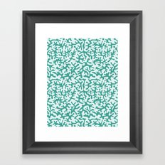 turquoise coral pattern Framed Art Print