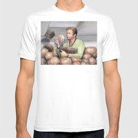 Captain Kirk and Tribbles Sci-Fi Portrait MEDIUM Mens Fitted Tee White