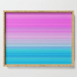 Pink & Aquamarine Blue Stripes Serving Tray