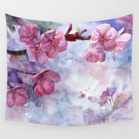 "sakura Wall Tapestries featuring ""Sakura"" by Emma Reznikova"