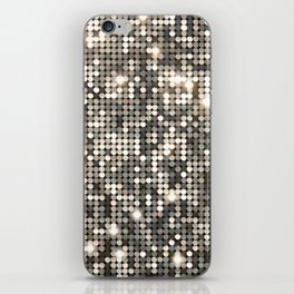Silver Metallic Glitter sequins iPhone Skin