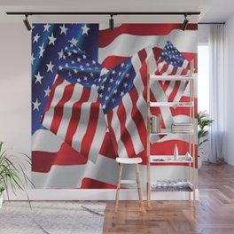 Patriotic American Flag Abstract Art Wall Mural