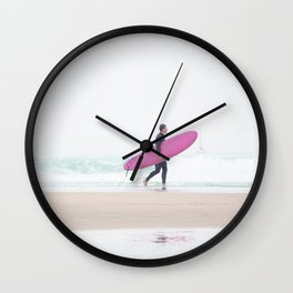 surfing beach vibes Wall Clock