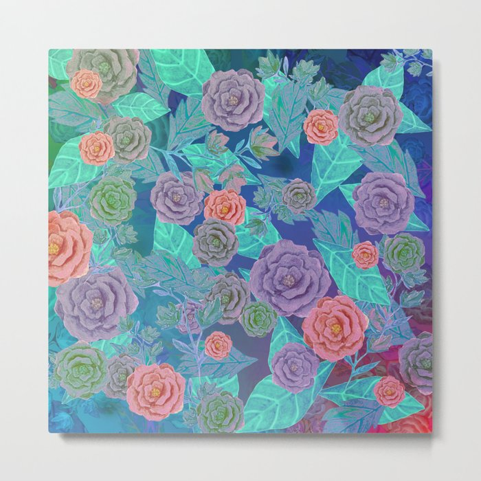 Vintage Flowers (Blue) Metal Print