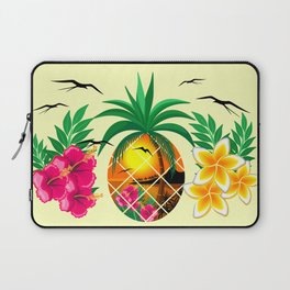 Pineapple Tropical Sunset, Palm Tree and Flowers Laptop Sleeve