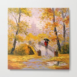 Walk in autumn after rain Metal Print