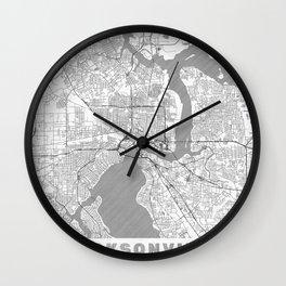 Jacksonville Map Line Wall Clock
