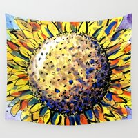 sunflower Wall Tapestries featuring Sunflower by Claudia McBain