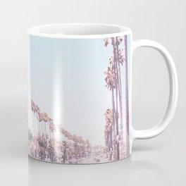 California Sidewalks // Blue Ocean Skyline Roadside Palm Trees Tropical Hollywood Paradise Coffee Mug