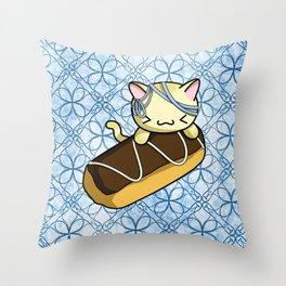 Eclair Kitty Throw Pillow