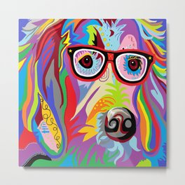 Smart Retriever Hipster with Glasses Metal Print