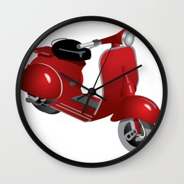 Moped in red Wall Clock