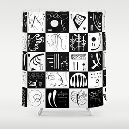 Kandinsky - Black and White Pattern - Abstract Art Shower Curtain