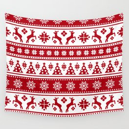Christmas Holiday Nordic Pattern Cozy Wall Tapestry