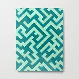 Magic Mint Green and Teal Green Diagonal Labyrinth Metal Print