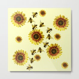 Yellow Sunflowers and Honey Bees Summer Pattern Metal Print