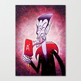 Dracula Licking a Blood Flavored Popsicle Canvas Print
