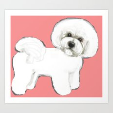 Bichon on coral Art Print