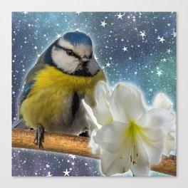 Baby Bird with White Flower Canvas Print