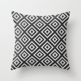 Stair Step Diamond Geometric Tribal in Black and White Throw Pillow