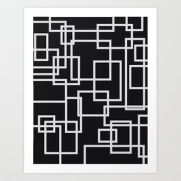 Geometric Cubic Line Pattern Black And White Art Print
