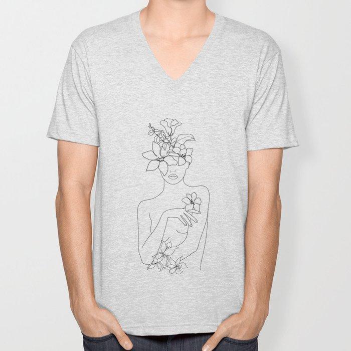 Minimal Line Art Woman with Flowers IV Unisex V-Neck