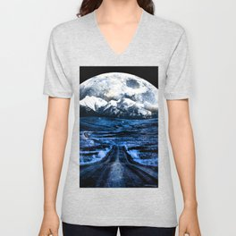 Road to Eternity (blue vintage moon mountain) Unisex V-Neck