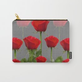 ORIGINAL GARDEN DESIGN OF RED ROSES ON GREY Carry-All Pouch