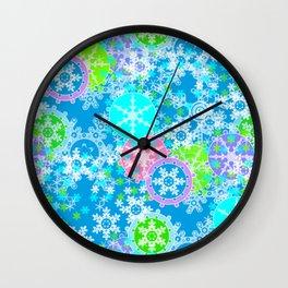 Funny snowflakes . Wall Clock