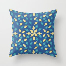 floral golden pattern on blue background Throw Pillow