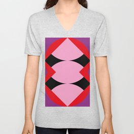 Strange mouth. Red Lips. Three... I said Three Tongues. Purple alien face. Or just a reflection? Unisex V-Neck