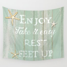 Call to Relax, on Reclaimed Wood Background Wall Tapestry