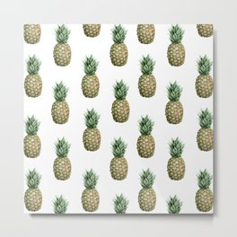 Classic Pineapple Pattern Metal Print