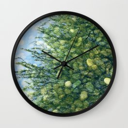 Exquisite Tree & River Stones Reflections In Pond Wall Clock
