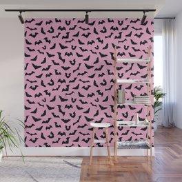 Pastel goth pink bats spooky Wall Mural
