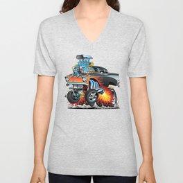 Classic hotrod 57 gasser drag racing muscle car cartoon Unisex V-Neck