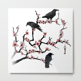 Ravens on cherry tree Metal Print
