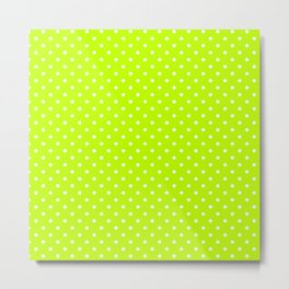 Dots (White/Lime) Metal Print
