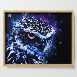 burrowing owl splatter watercolor cool blue Serving Tray