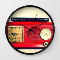 radio Wall Clocks featuring Red Radio by Squint Photography
