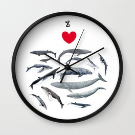 I love whales design Wall Clock