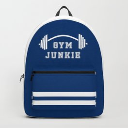 Gym Junkie Duffel Gym Sports Leisure Bag Blue White Backpack