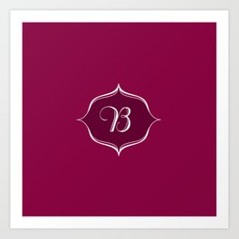 B Monogram Burgundy Art Print